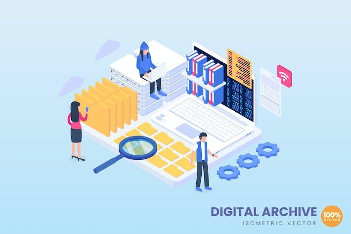 Ilustración del concepto de archivo digital