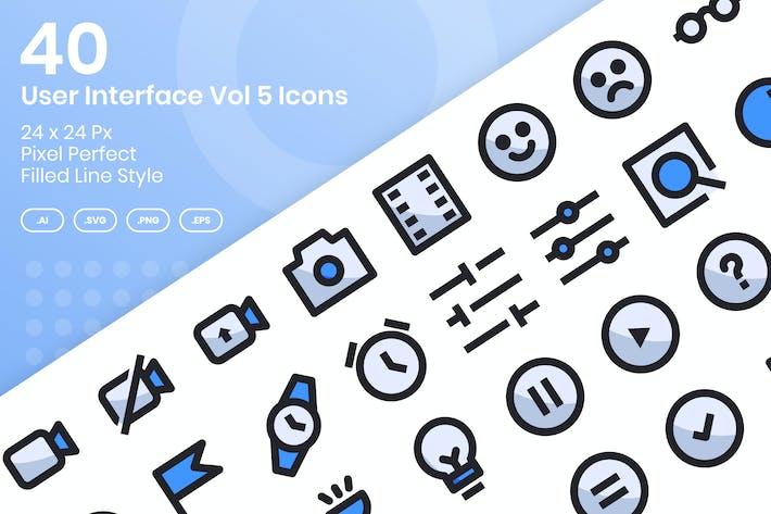 40 Пользовательский интерфейс Vol 5 Набор Иконки - заполненная линия