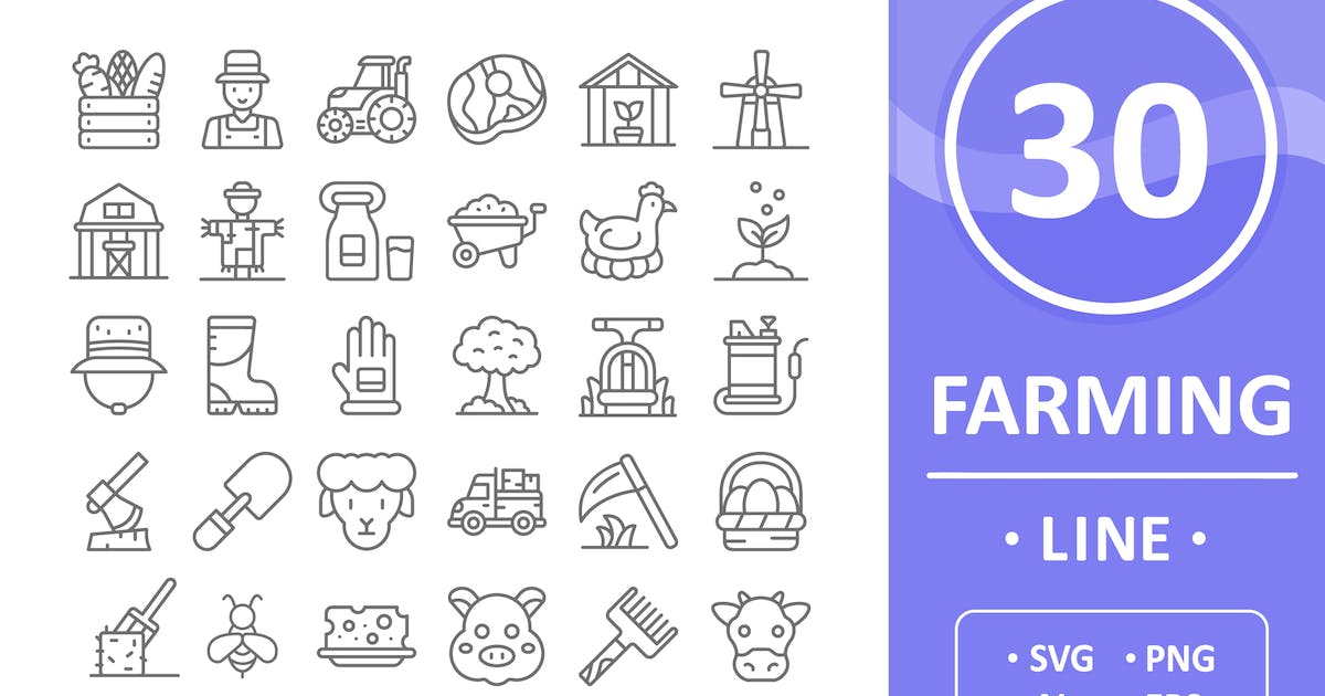 Download 30 Farming Icons - Line by vectorizone