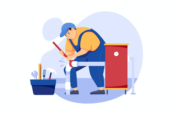 Sanitär - Handyman Service Illustrationskonzept