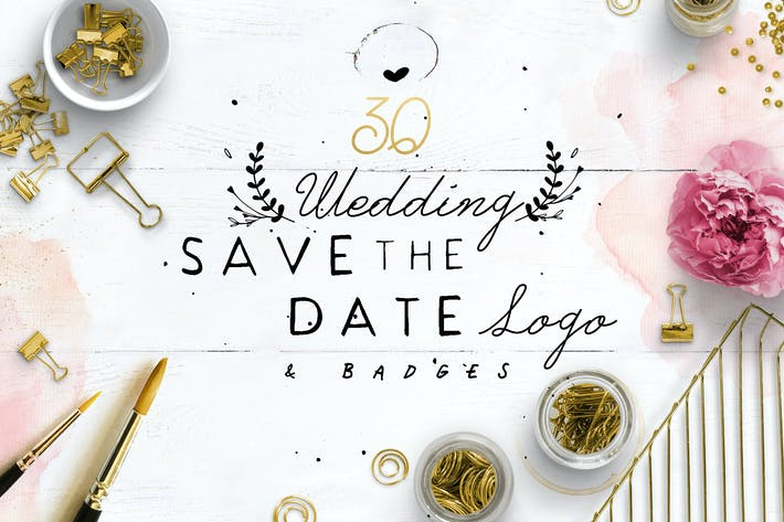 Thumbnail for 30 Save the Date Wreath Logo
