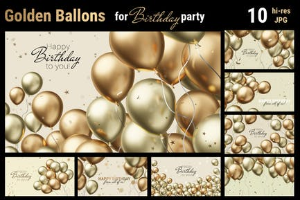 Golden Balloons   Backgrounds