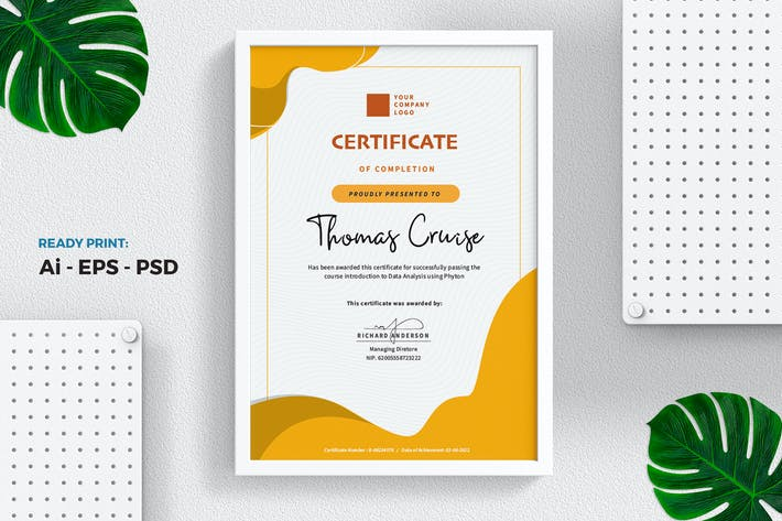 Thumbnail for Yellow Certificate / Diploma Template