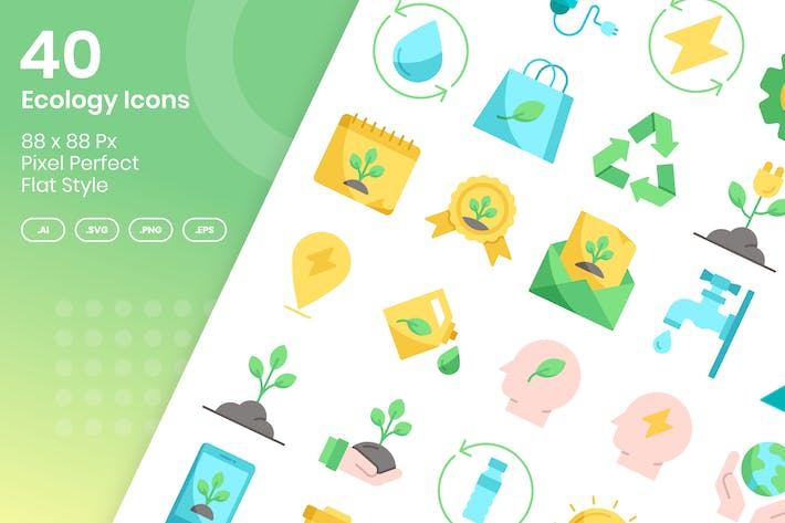 Thumbnail for 40 Ecology Icons Set - Flat