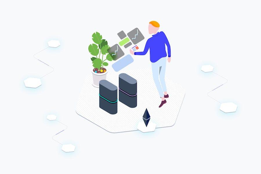 AR Blockchain Platform Isometric Illustration