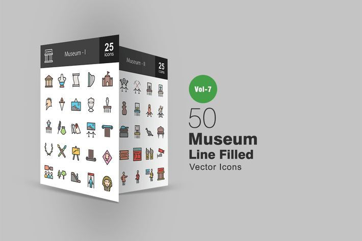 Thumbnail for 50 Museum gefüllte Linie Icons