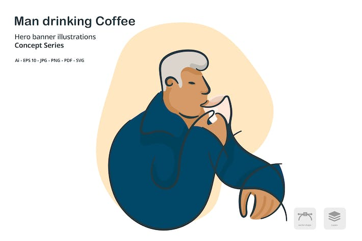 Thumbnail for Man Drinking Coffee Vector Illustration