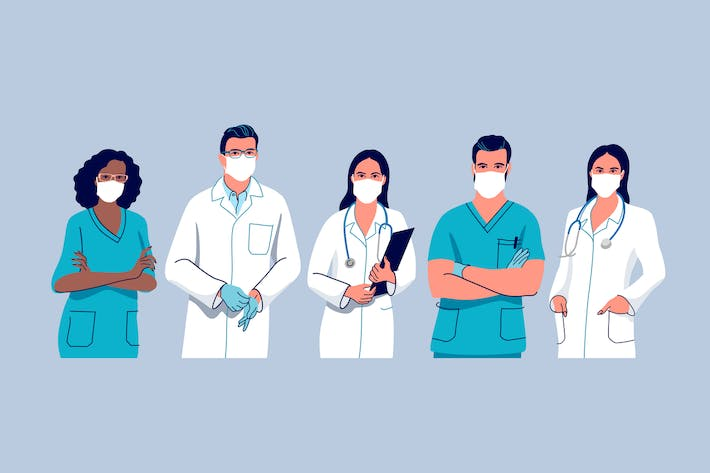 Doctors and Nurses Team Professional Physicians