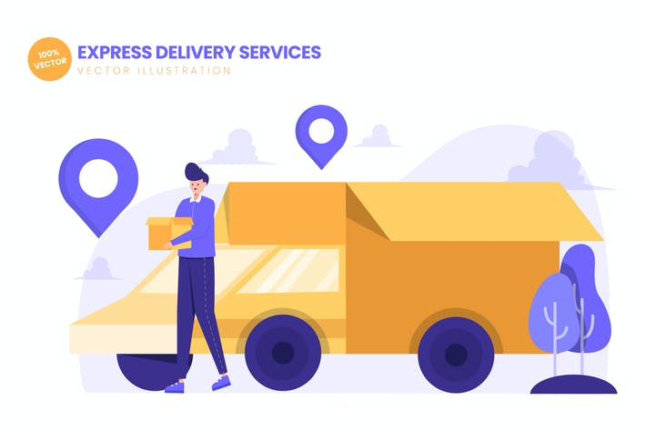 Thumbnail for Express Delivery Services Flat Vector Illustration