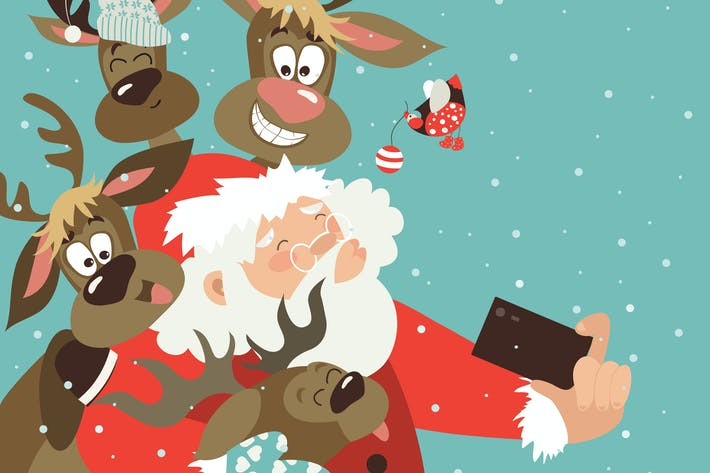 Thumbnail for Santa and reindeers take a selfie