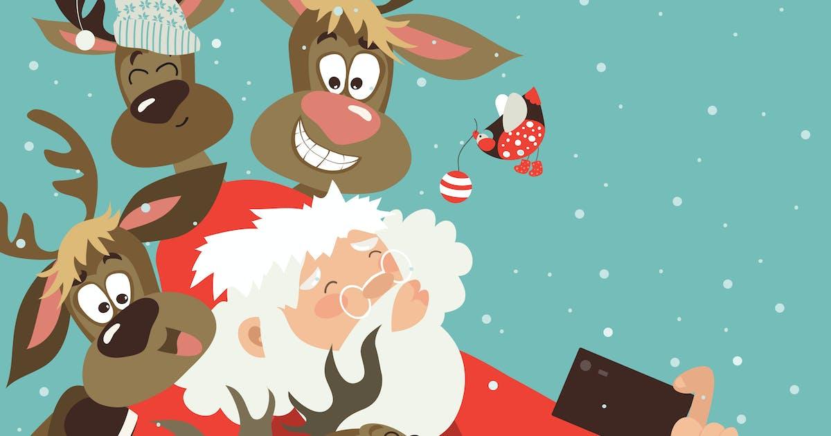 Download Santa and reindeers take a selfie by masastarus