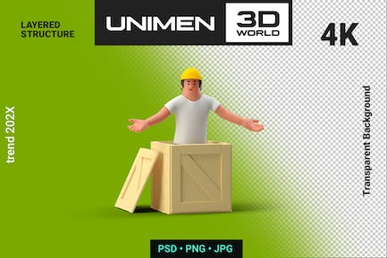 3D Man Worker in Helmet with Box Container
