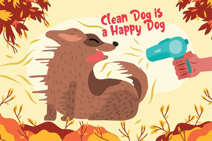 Dog Grooming - Vector Illustration