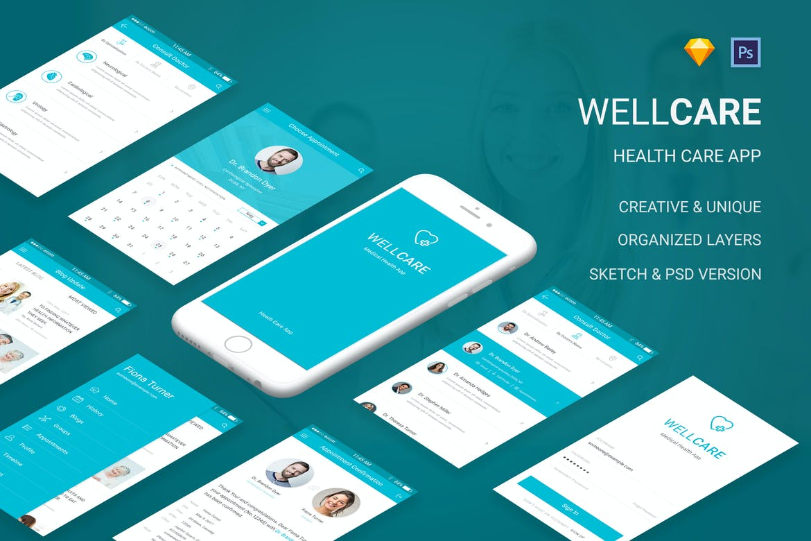 Well Care - Medical & Health APP (PSD & Sketch) by
