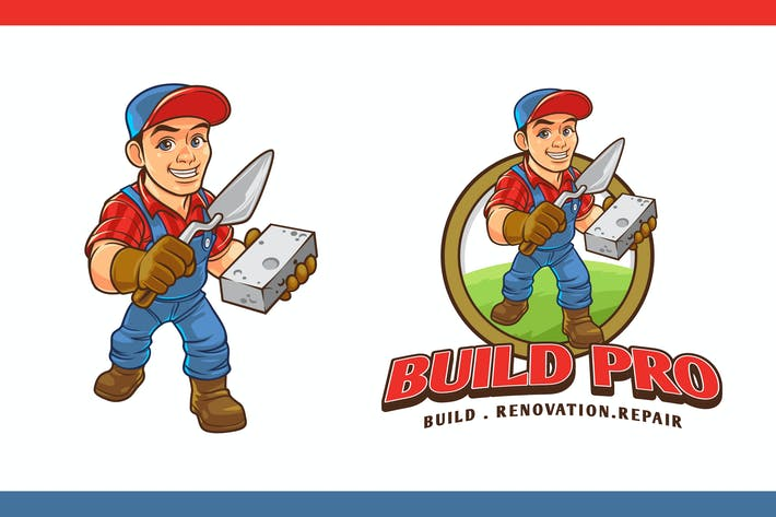 Thumbnail for Construction Worker Mascot Character Logo