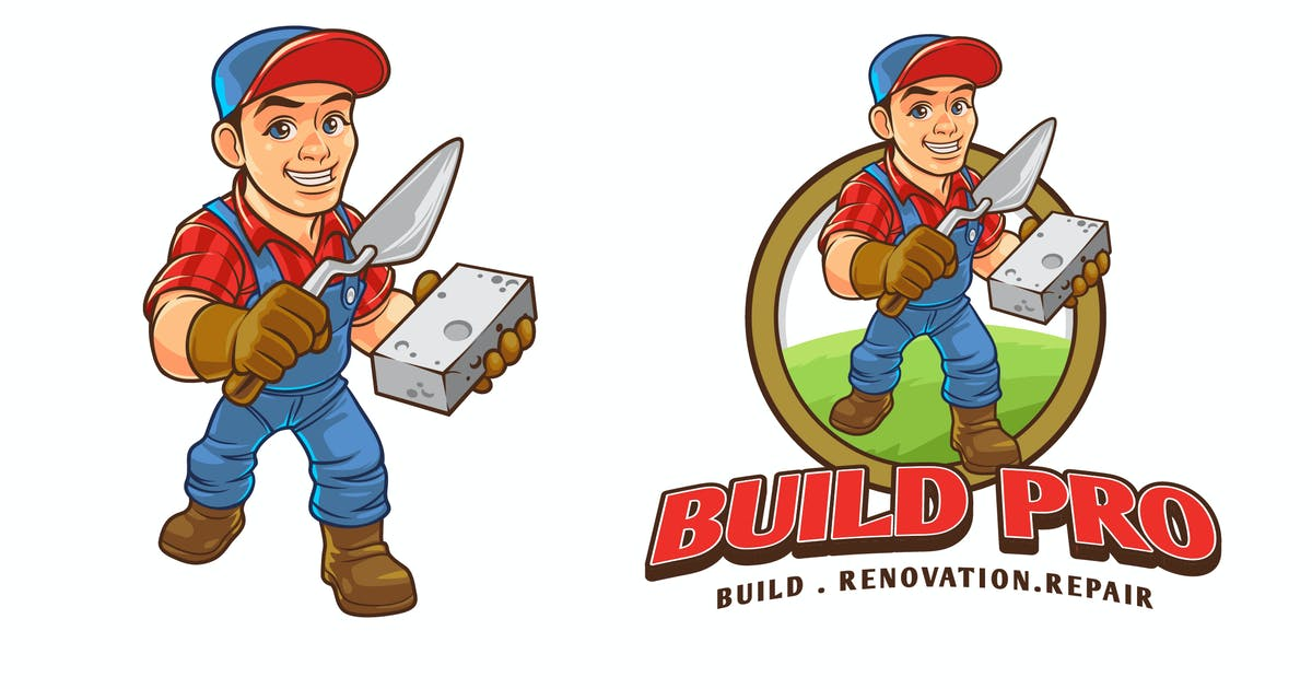 Download Construction Worker Mascot Character Logo by Suhandi