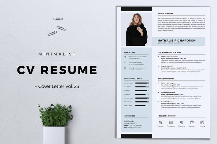 Thumbnail for Minimalist CV Resume Vol. 23