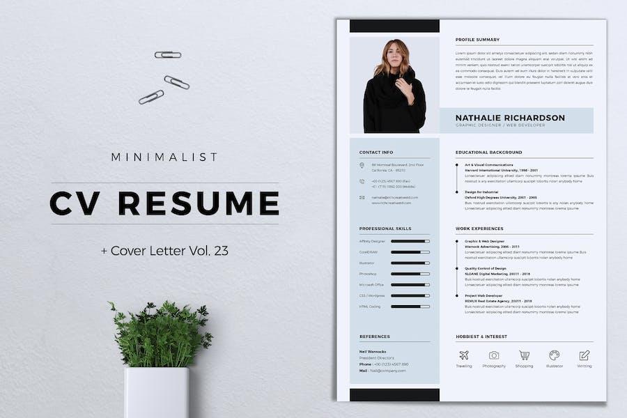 CV minimaliste CV CV Vol. 23