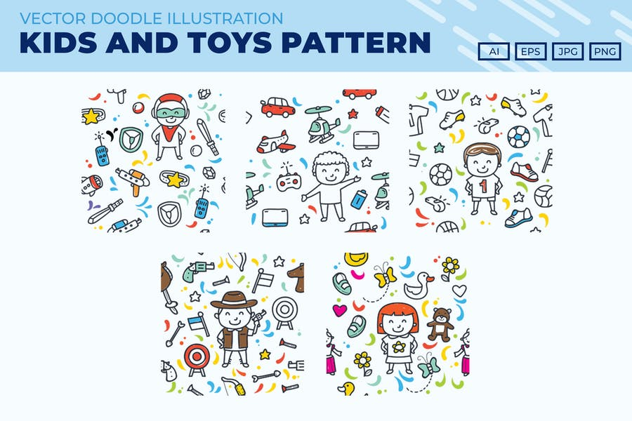 Kids and Toys doodle pattern