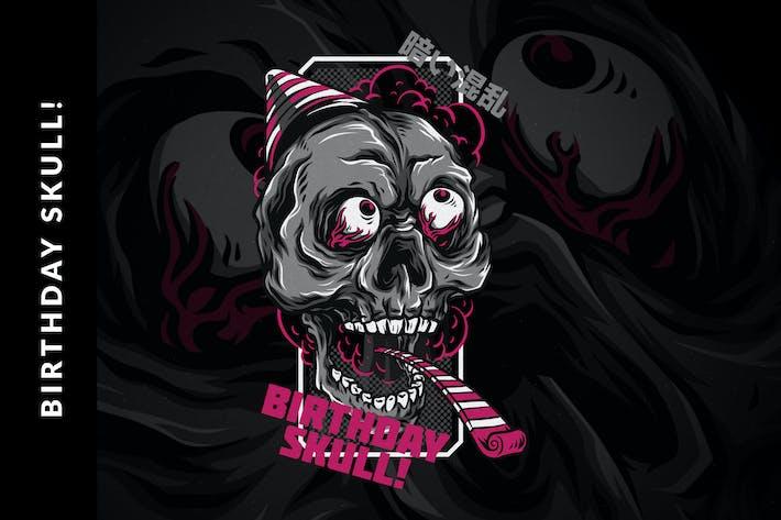 Thumbnail for Birthday Skull T-Shirt Design