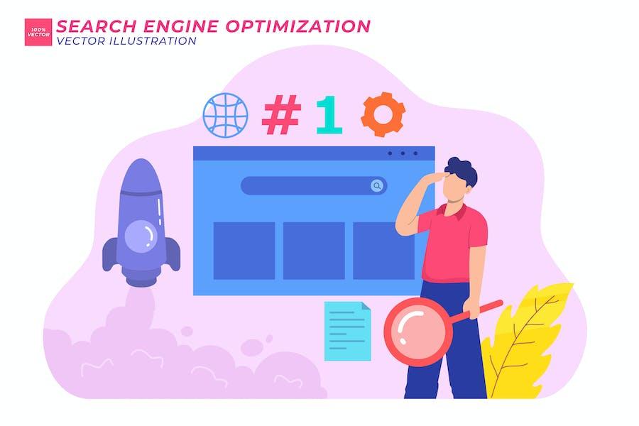 Ilustración plana de optimización de motores de búsqueda