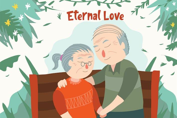 Thumbnail for Elder Couple - Vector Illustration