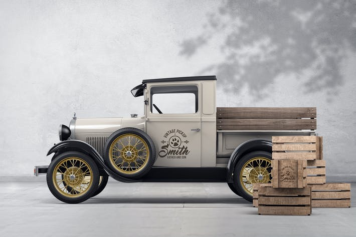 Thumbnail for Vintage Pickup Branding Mockup
