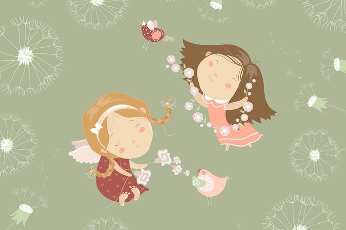 Thumbnail for Dos angelPequeño con flores. Vector