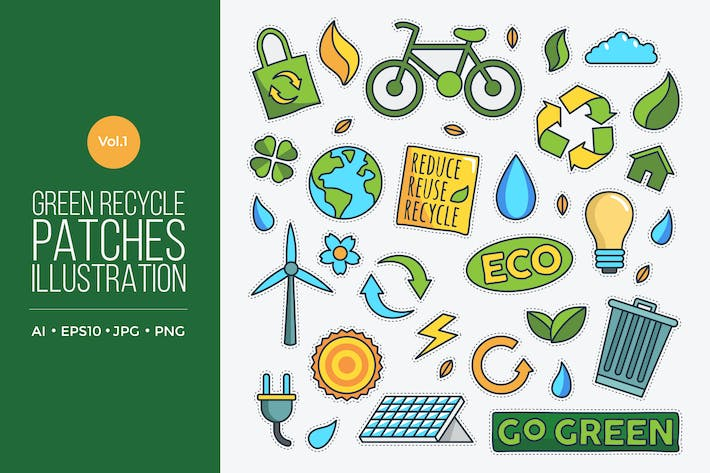 Thumbnail for Green Eco Friendly Energy Vector Patches Vol.1