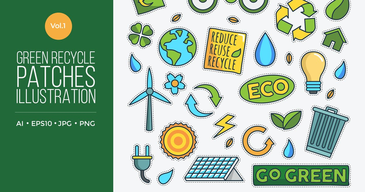 Download Green Eco Friendly Energy Vector Patches Vol.1 by naulicrea
