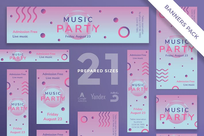 Music Party Banner Pack Template