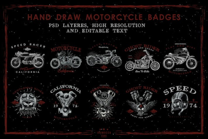 Thumbnail for HandDraw Vintage Motorcycle Badges