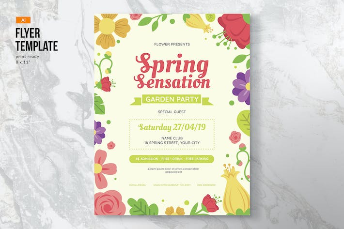 Thumbnail for Spring Flowers Flyer Template
