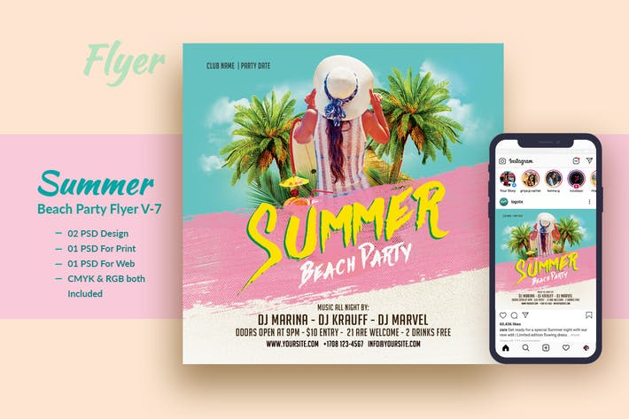 Cover Image For Summer Beach Party Flyer & Instagram Post V7