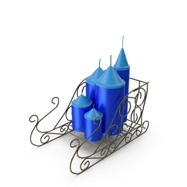 Thumbnail for Openwork Sleigh With New Year's Blue Candles