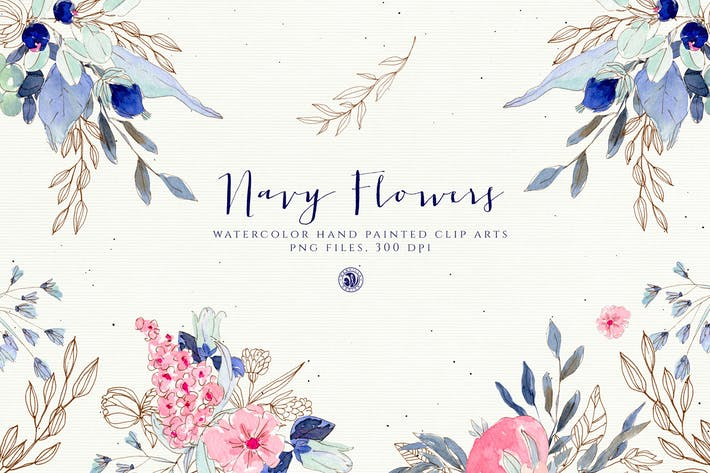 Thumbnail for Watercolor Navy Flowers