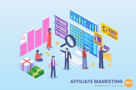 Isometric Affiliate Marketing Vector Concept