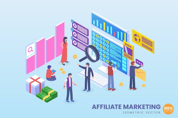 Thumbnail for Isometric Affiliate Marketing Vector Concept
