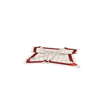 Белый и красный шелковый шарф
