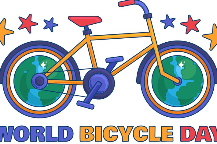 Thumbnail for World Bicycle Day Illustration