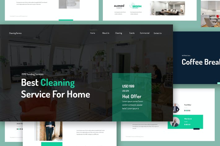 Thumbnail for Cleaning Service Google Slides Template