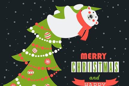 L' ours polaire a grimpé le sapin de Noël