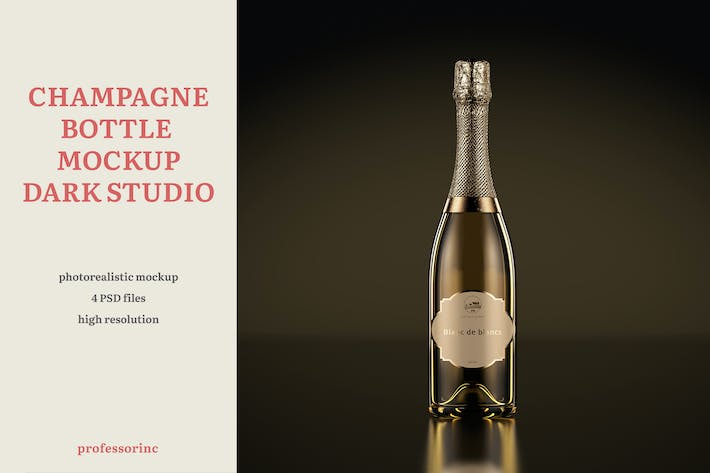 Thumbnail for Champagne Bottle Mockup — Dark Studio