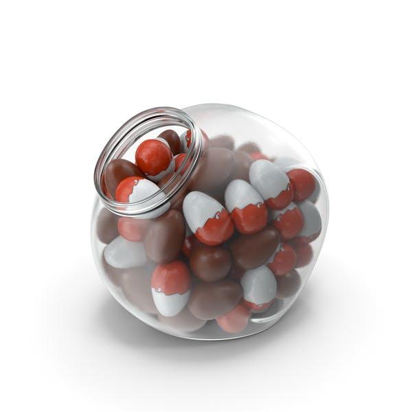 Сферическая банка с шоколадными яйцами