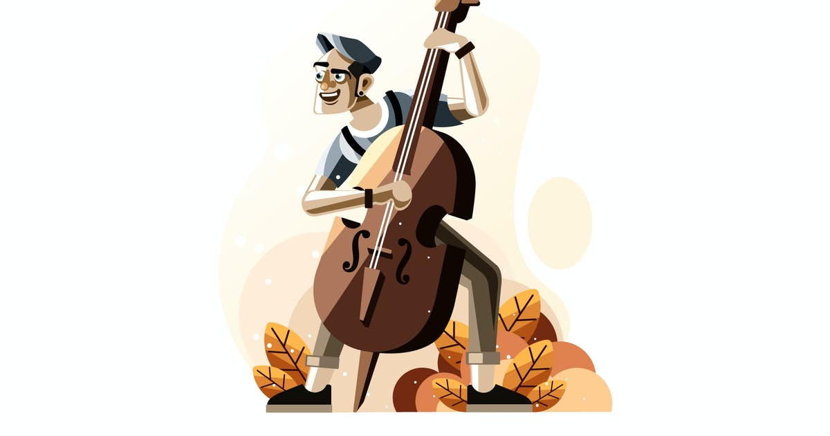 Download Man playing double bass illustration by IanMikraz