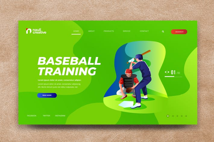 Baseball Sports Web PSD and AI Vector Template