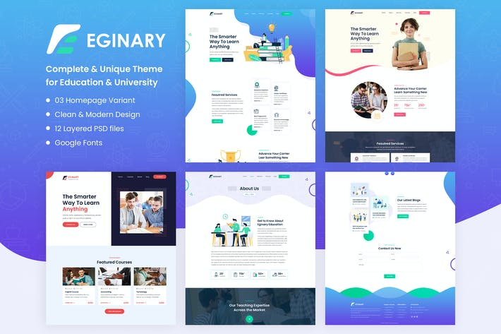 Thumbnail for Eginary - Online Education PSD Template