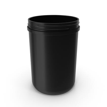 Plastic Jar Wide Mouth Straight Sided 70oz Without Cap Black