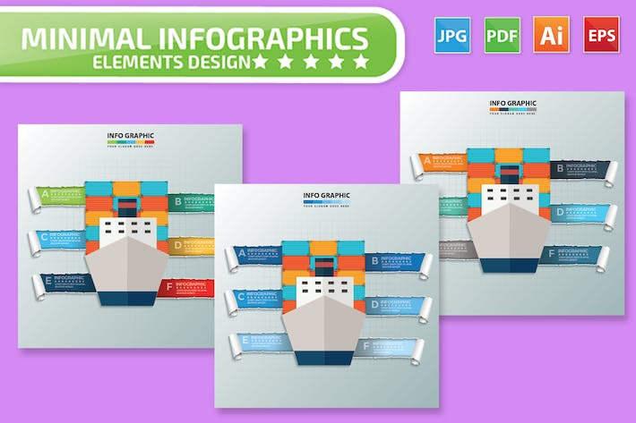 Thumbnail for Container Ship Infographics Design