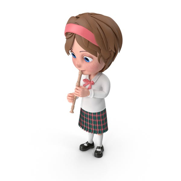 Thumbnail for Cartoon Girl Meghan Playing Flute